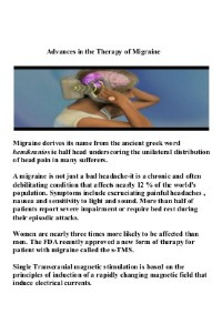 Advances in the therapy of migraine