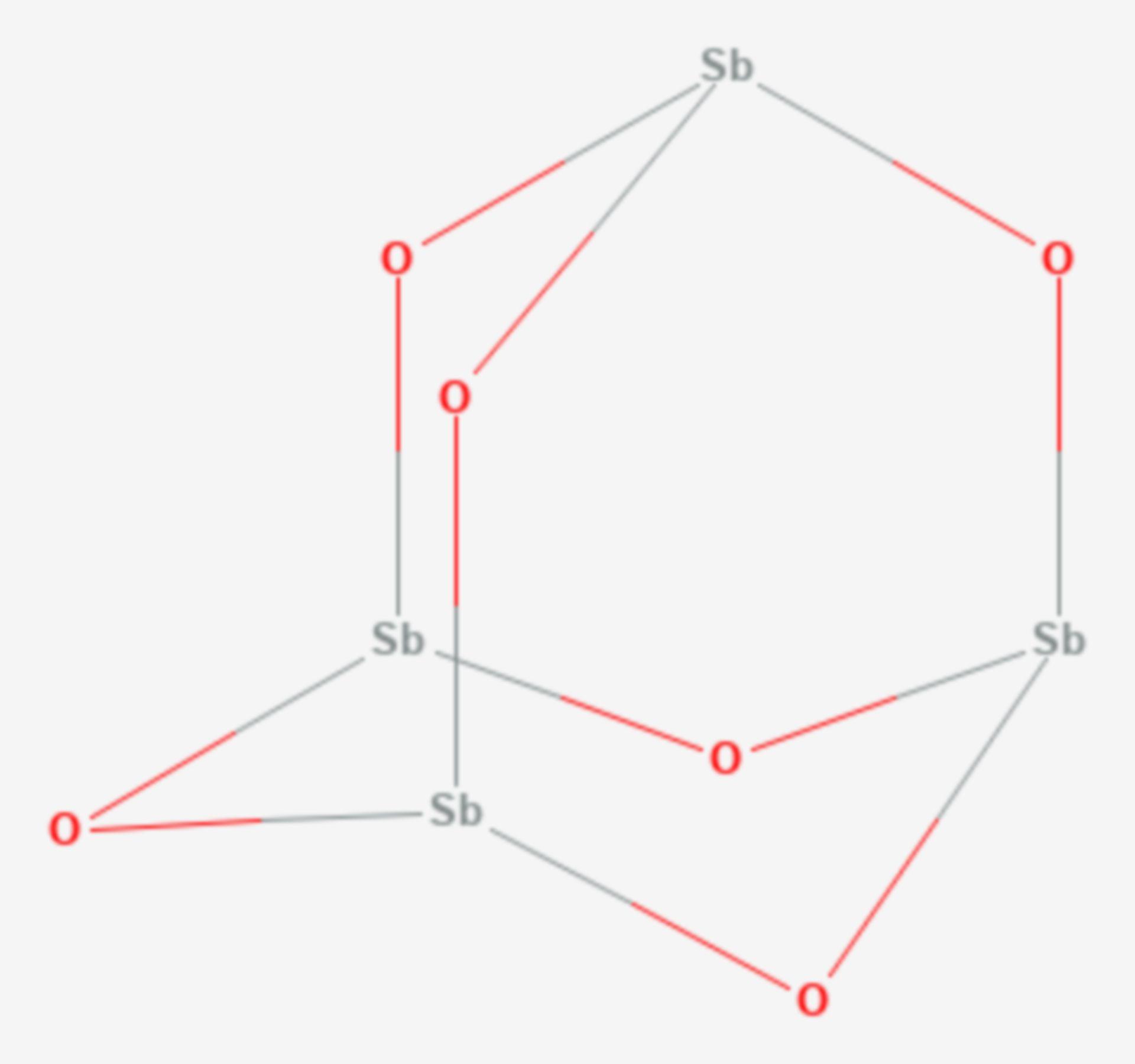 Antimon(III)-oxid (Strukturformel)