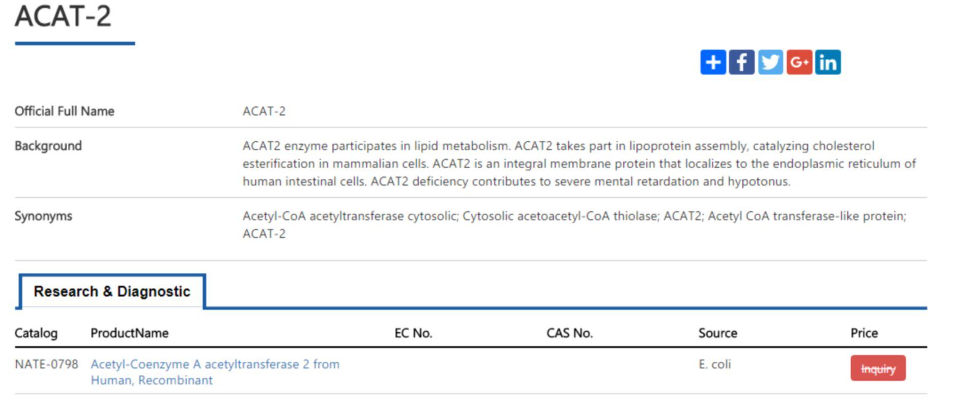 recombinant acat-2 enzyme
