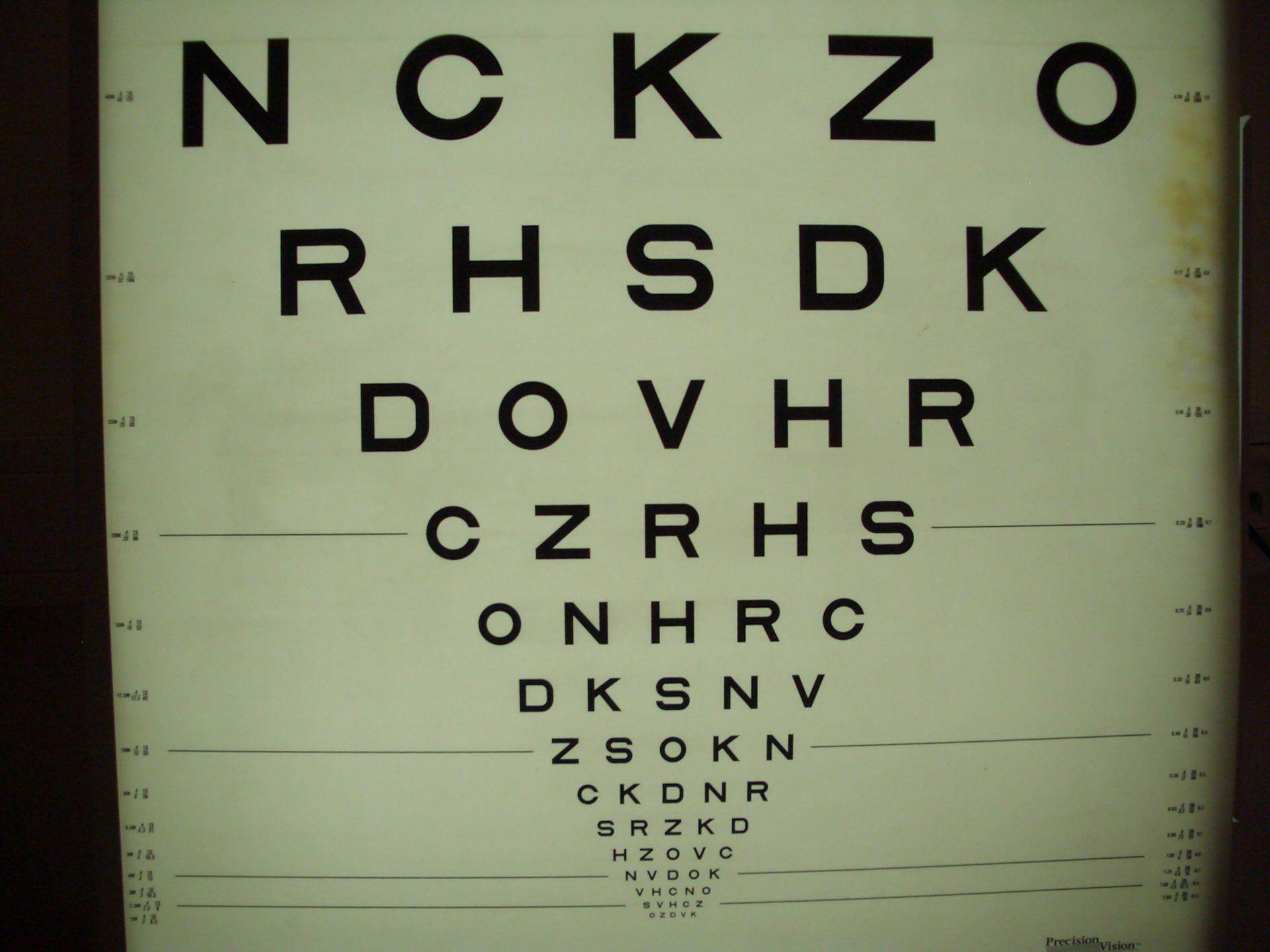 Snellen eye chart (modified)