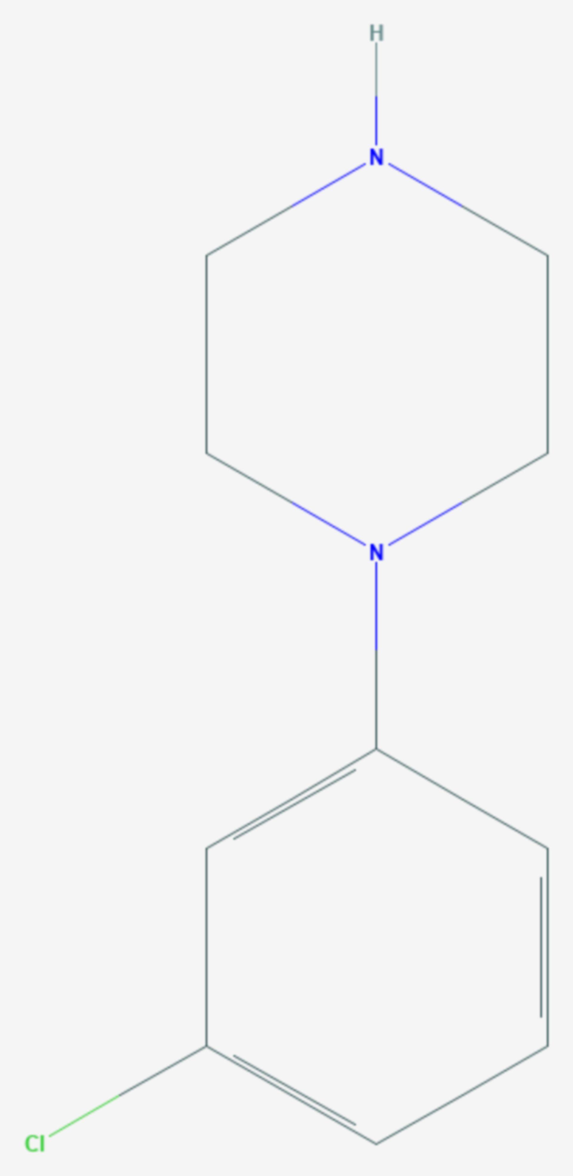 Meta-Chlorphenylpiperazin (Strukturformel)