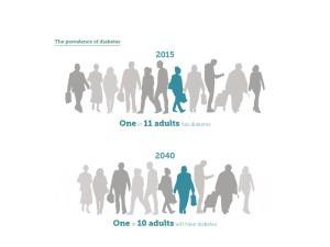 Im Jahr 2040 wird laut einer Prognose des IDF Diabetes Atlas jeder 10. Mensch weltweit unter Diabetes leiden. Credit: IDF Diabetes Atlas