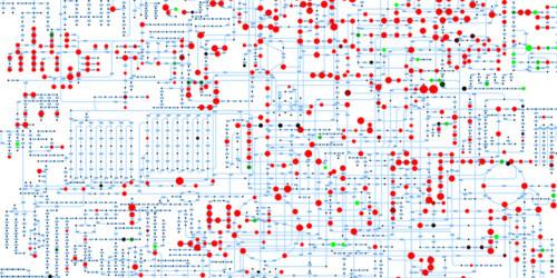 Schaltkreise des Lebens: ETH-Wissenschaftler können mit einer neuen Methode in einer Minute eine Vielzahl von Metaboliten (rote und grüne Punkte) messen. © Nicola Zamboni / ETH Zürich