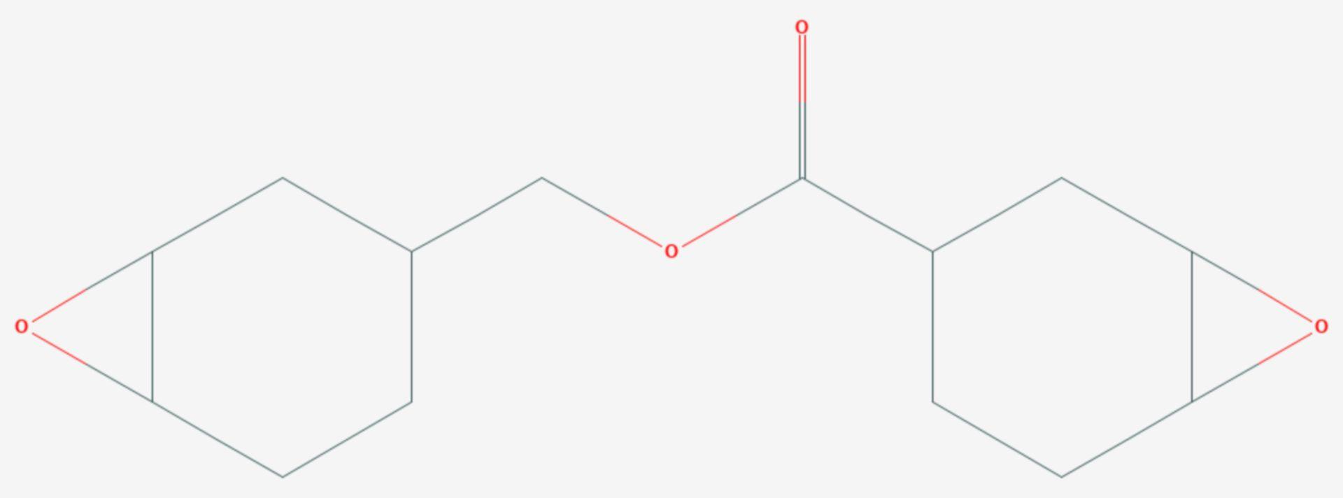 3,4-Epoxycyclohexylmethyl-3',4'-epoxycyclohexancarboxylat (Strukturformel)