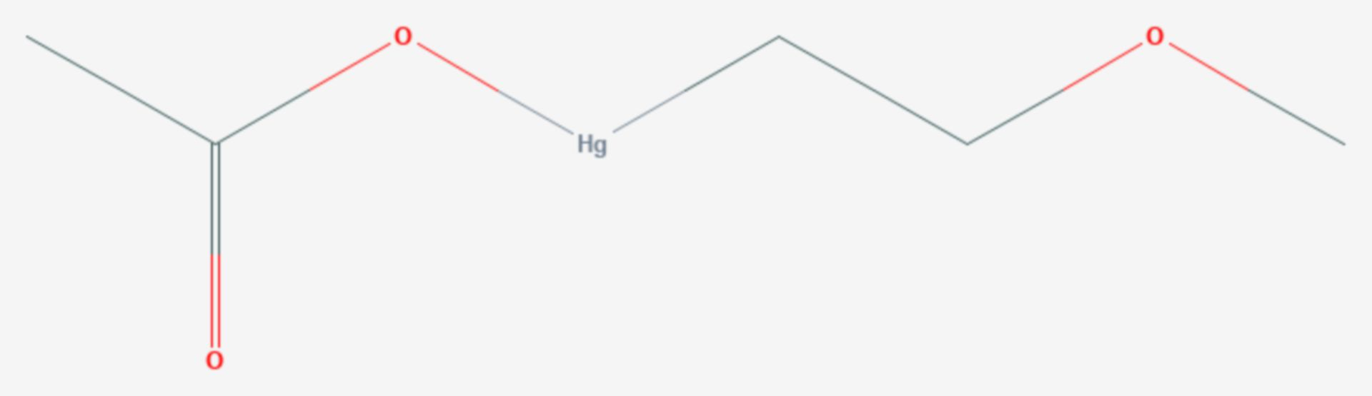 2-Methoxyethylquecksilberacetat (Strukturformel)