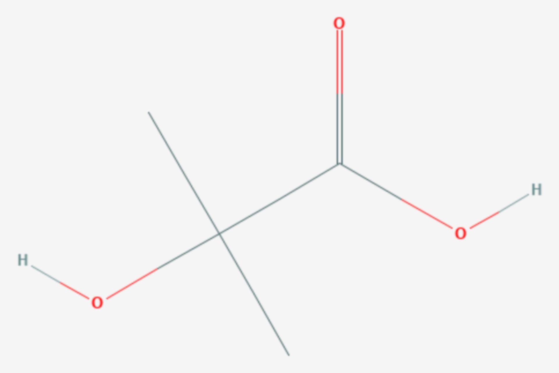 2-Hydroxyisobuttersäure (Strukturformel)