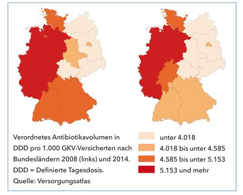 Verordnetes Antibiotikavolumen in DDD pro 1.000 GKV-Versicherten nach Bundesländern 2008 (links) und 2014. DDD = Definierte Tagesdosis. © Versorgungsatlas
