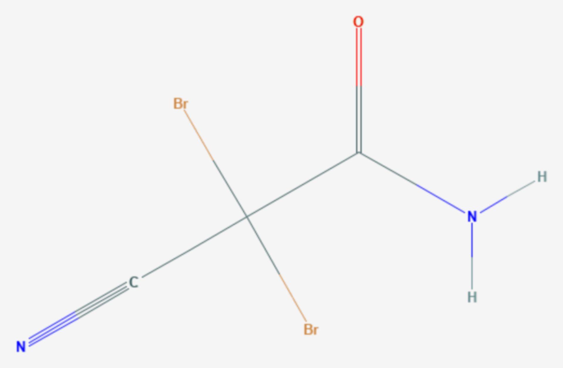 2,2-Dibrom-2-cyanacetamid (Strukturformel)
