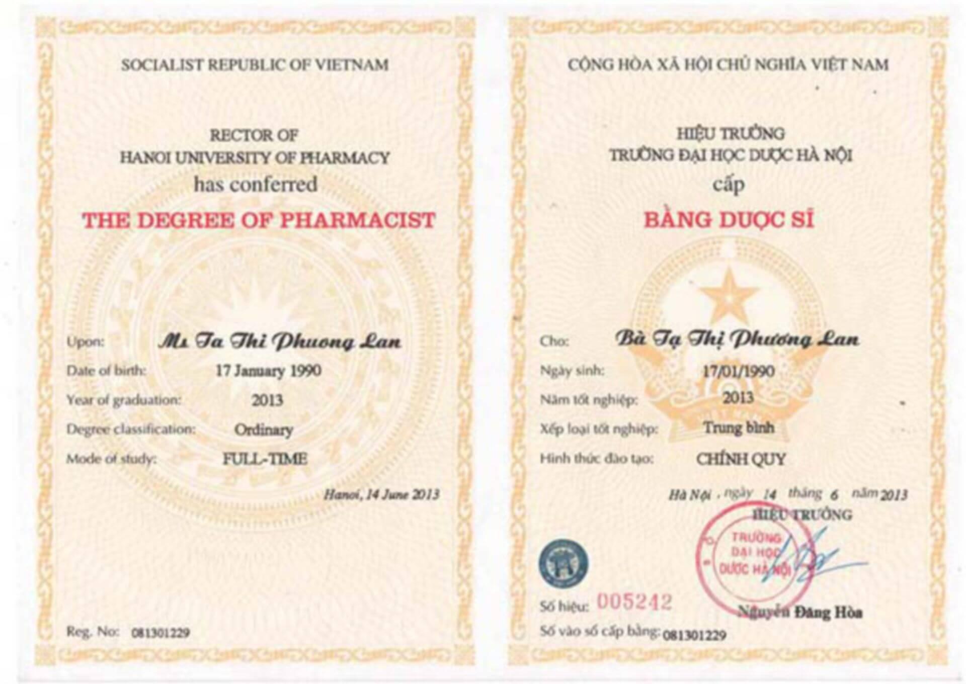 Univesity Certificate