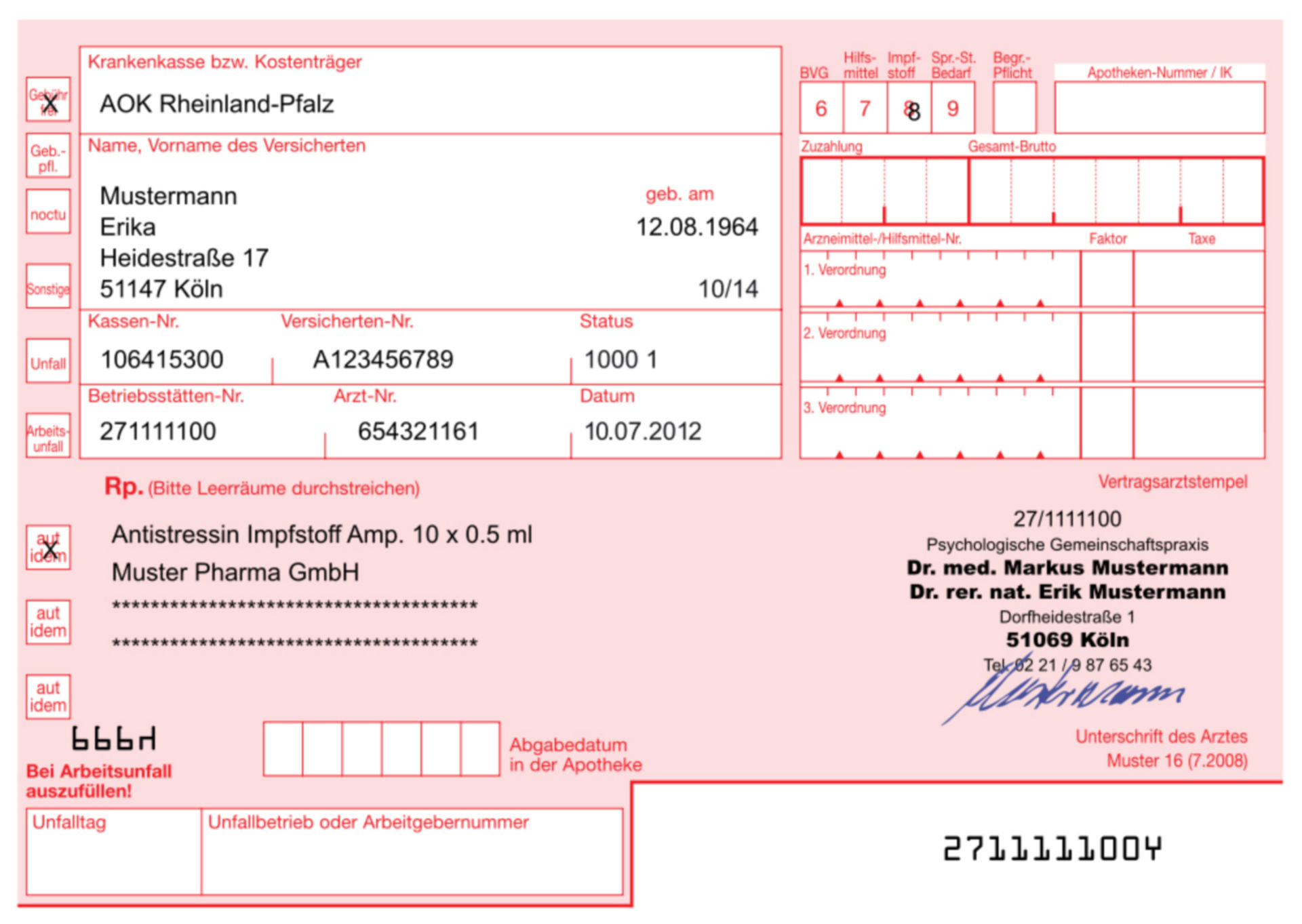 German prescription-form for state-insurance-paid medication