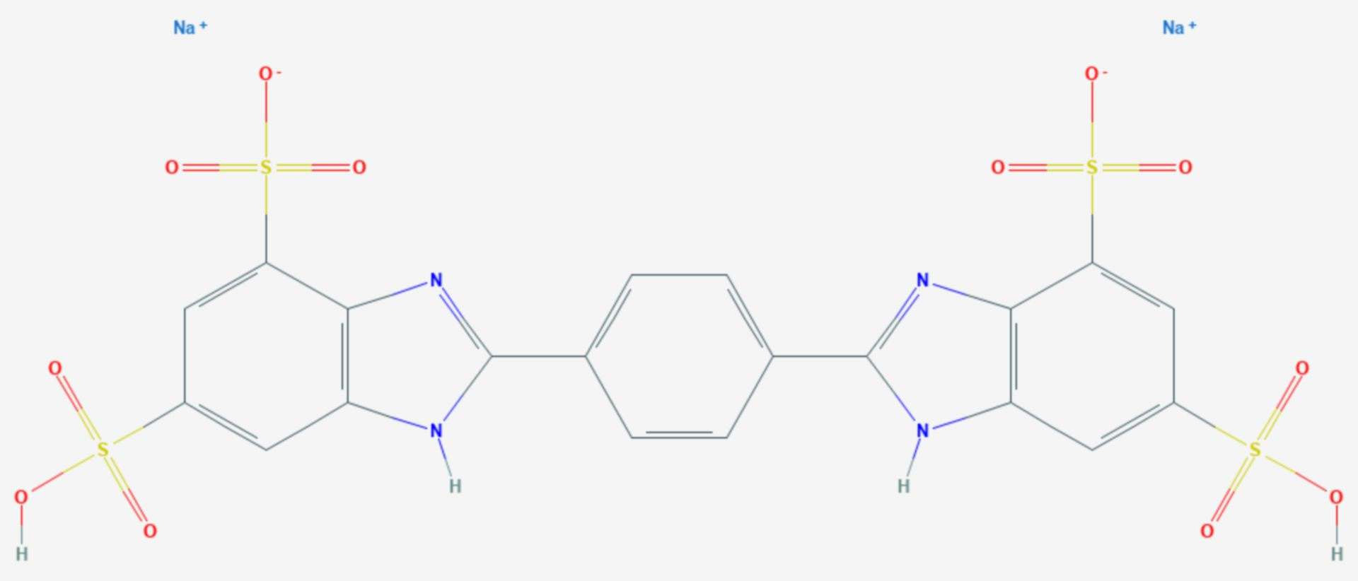 Dinatriumphenyldibenzimidazoltetrasulfonat (Strukturformel)