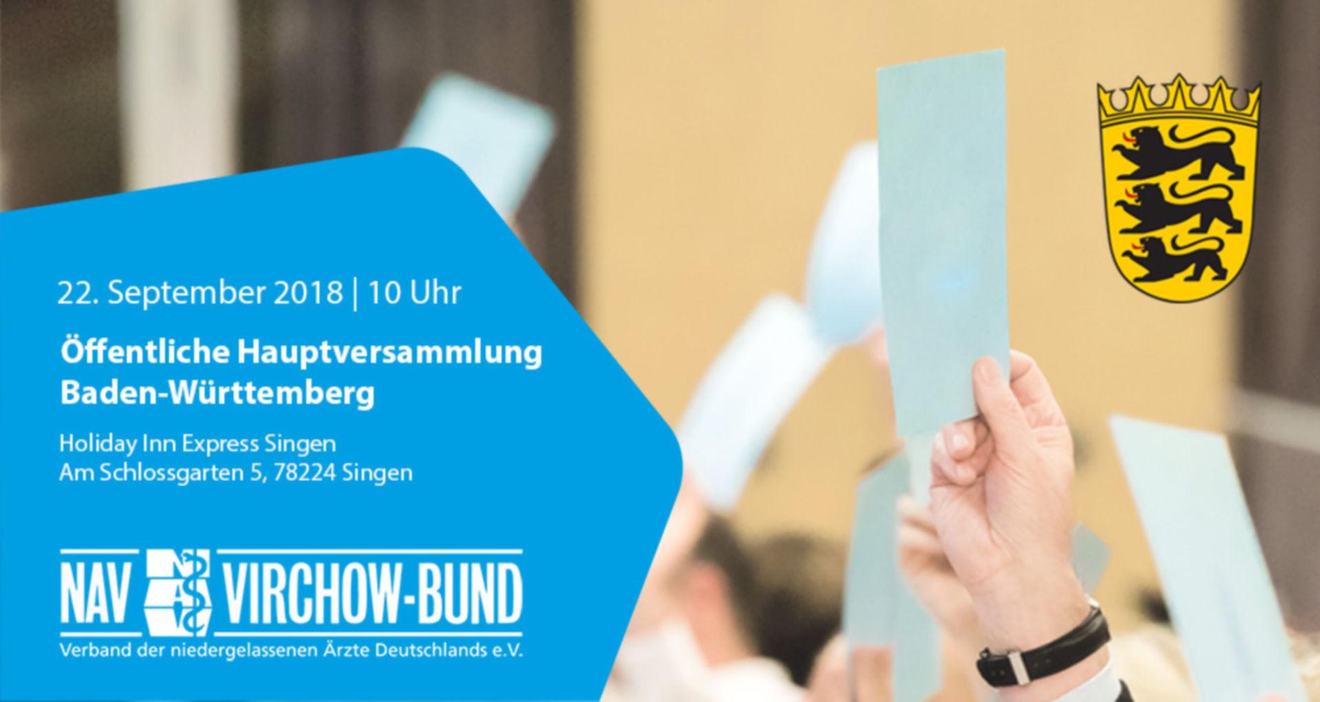 Einladung: 22.9.2018 | Landeshauptversammlung Baden-Württemberg im NAV-Virchow-Bund