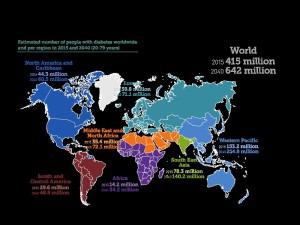 Verbreitung von Diabetes im Jahr 2015 und 2040. Credit: IDF Diabetes Atlas