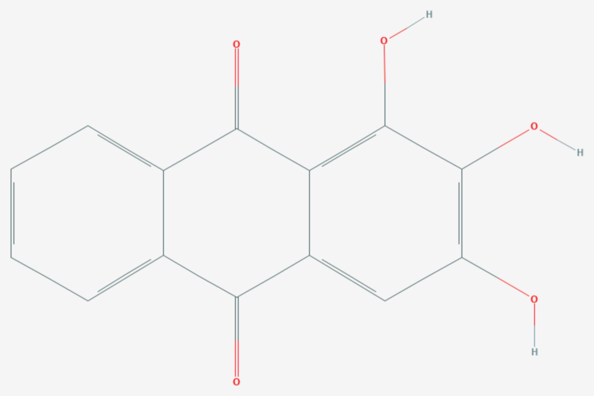 1,2,3-Trihydroxy-9,10-anthrachinon (Strukturformel)