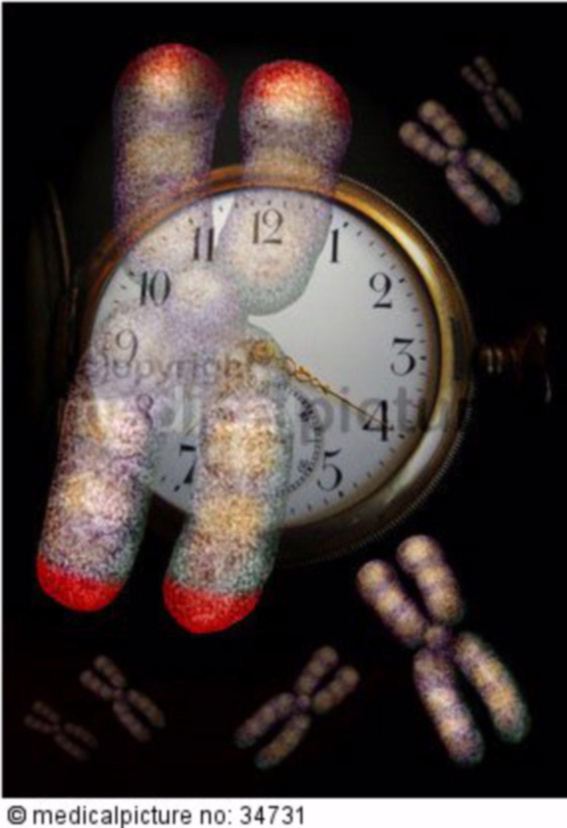 Chromosom mit Uhr im Hintergrund