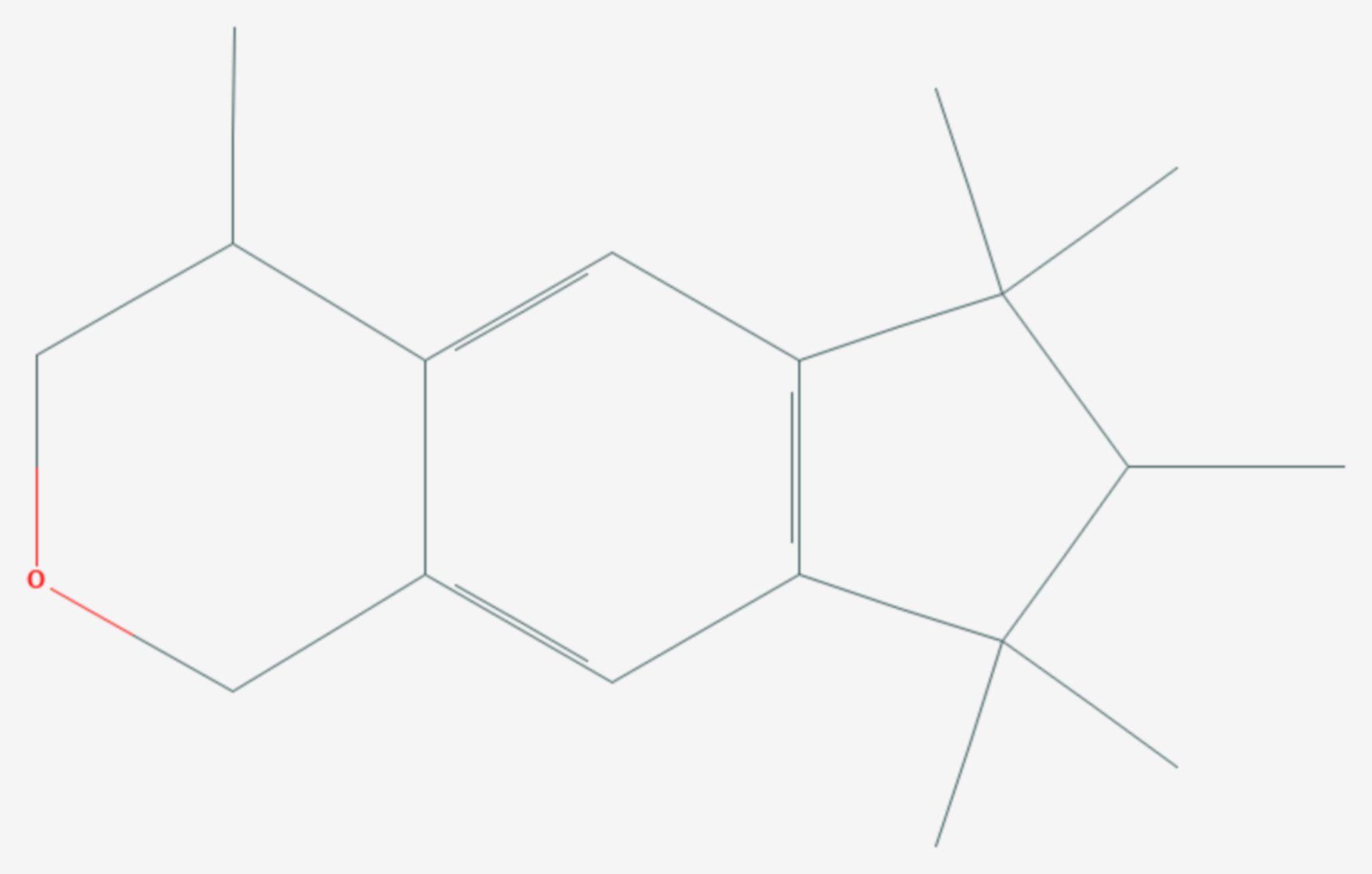1,3,4,6,7,8-Hexahydro-4,6,6,7,8,8-hexamethyl-cyclopenta(g)-2-benzopyran (Strukturformel)