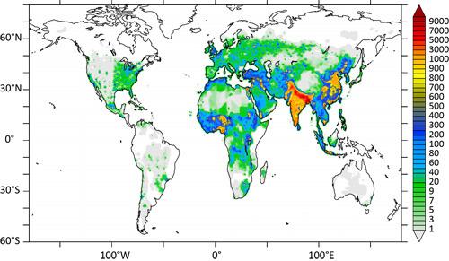 Zuwachs an Todesfällen von 2010 bis 2050 aufgrund einer zu erwartenden stärkeren Luftverschmutzung bei Business-as-Usual-Szenario: weiß – keine Zunahme; rot – 9000 Todesfälle mehr pro Jahr. © Nature