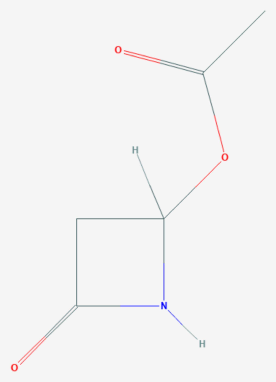 4-Acetoxy-2-azetidinon (Strukturformel)