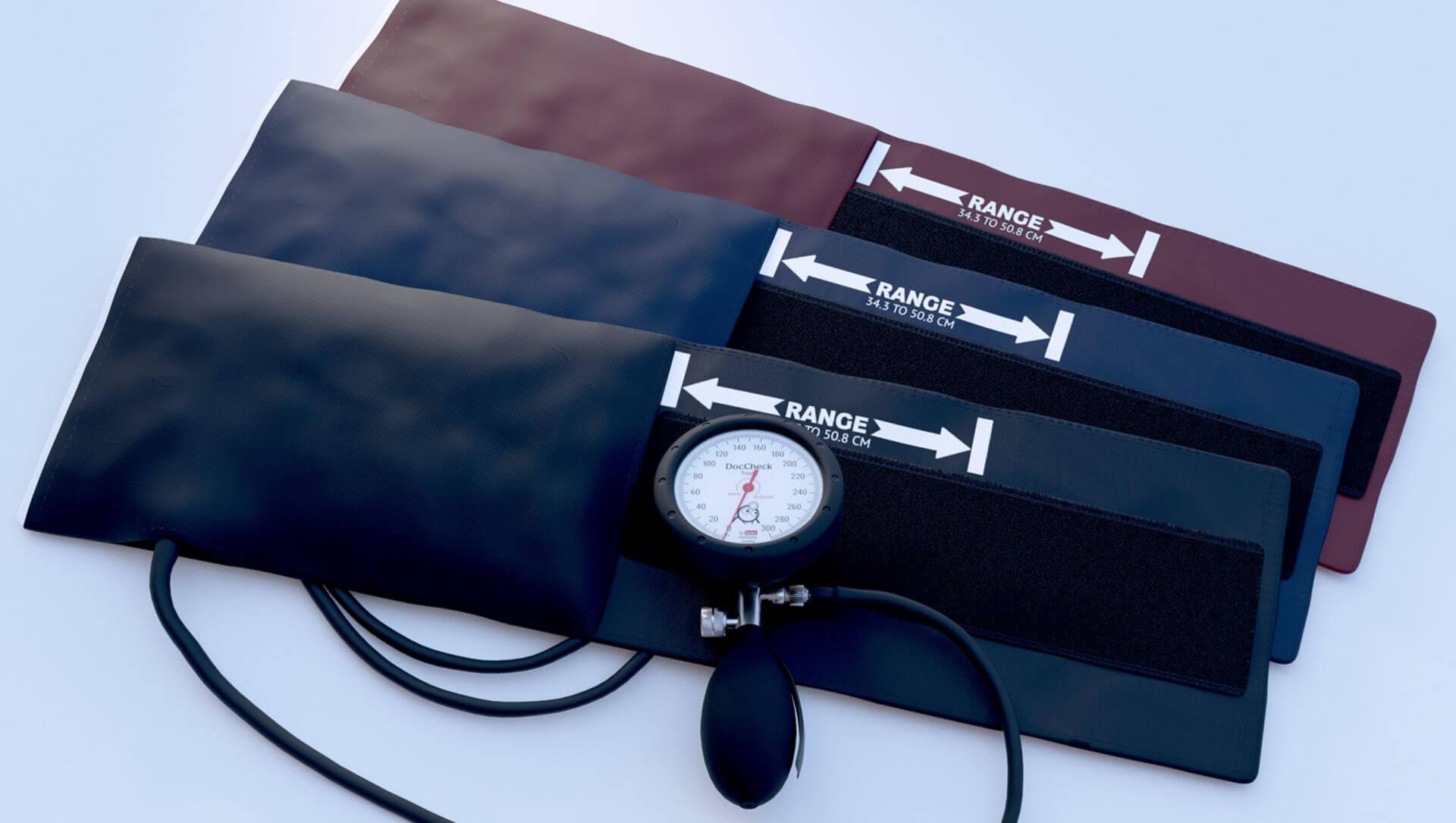 3D-Rendering: Blutdruckmessgerät DocCheck Farbvarianten