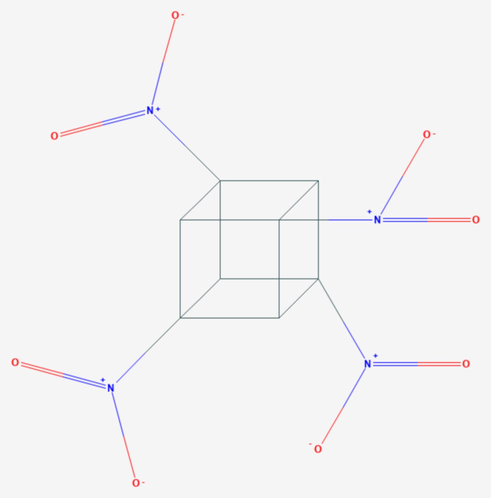 Tetranitrocuban (Strukturformel)