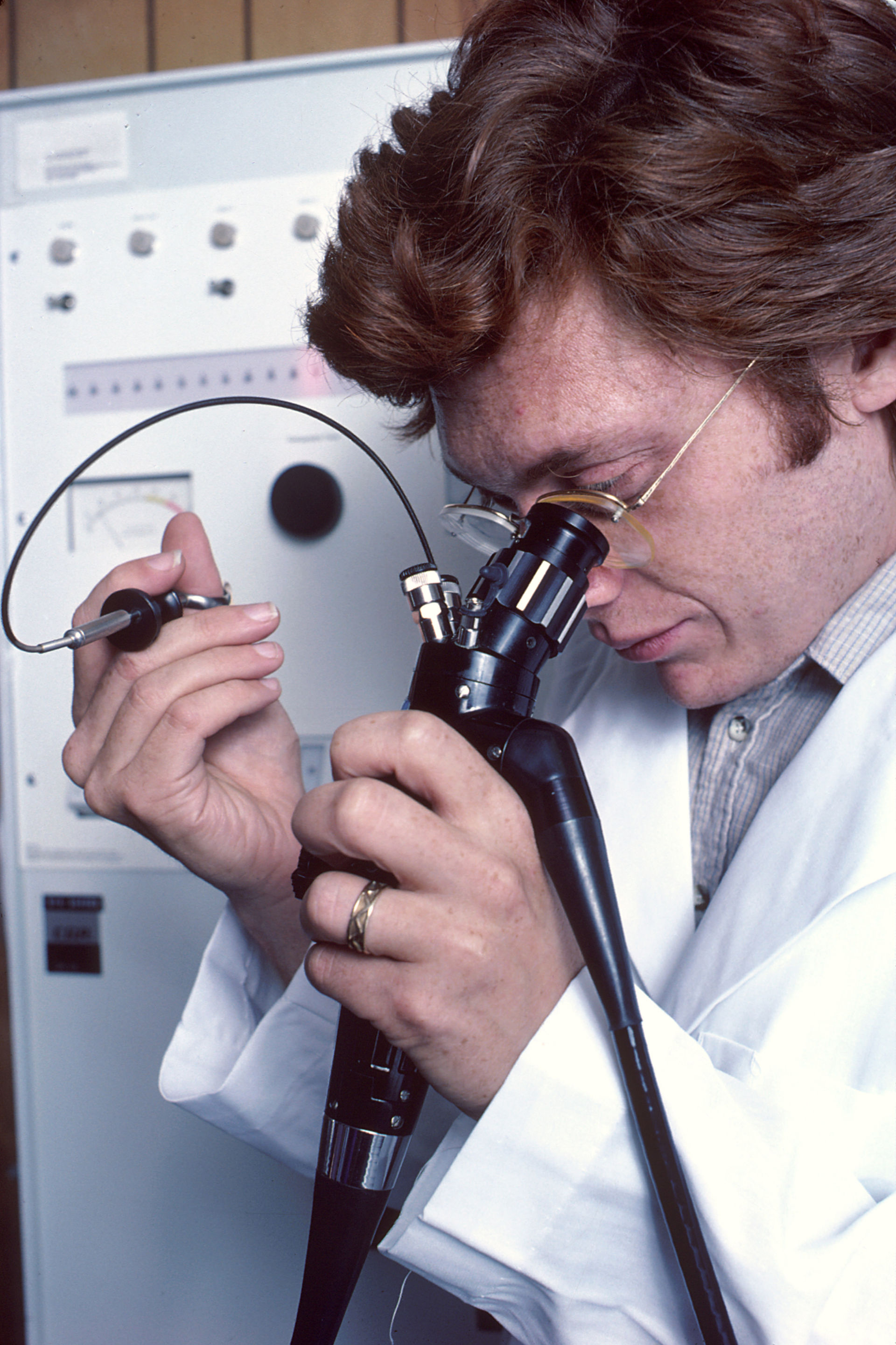Physician using an endoscope