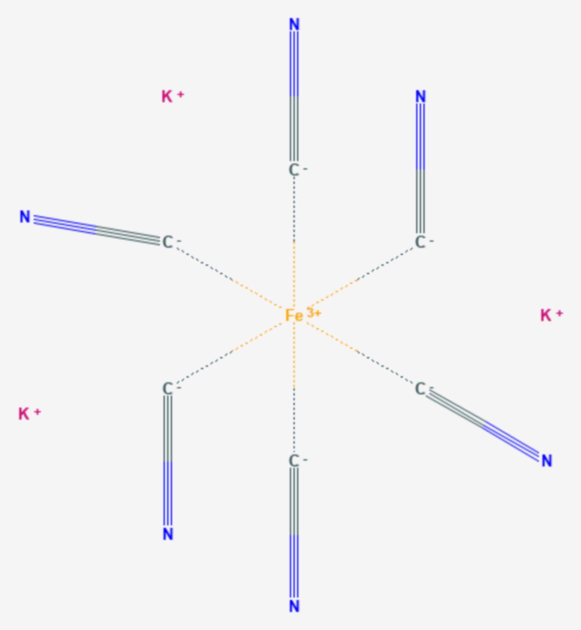 Kaliumhexacyanidoferrat(III) (Strukturformel)