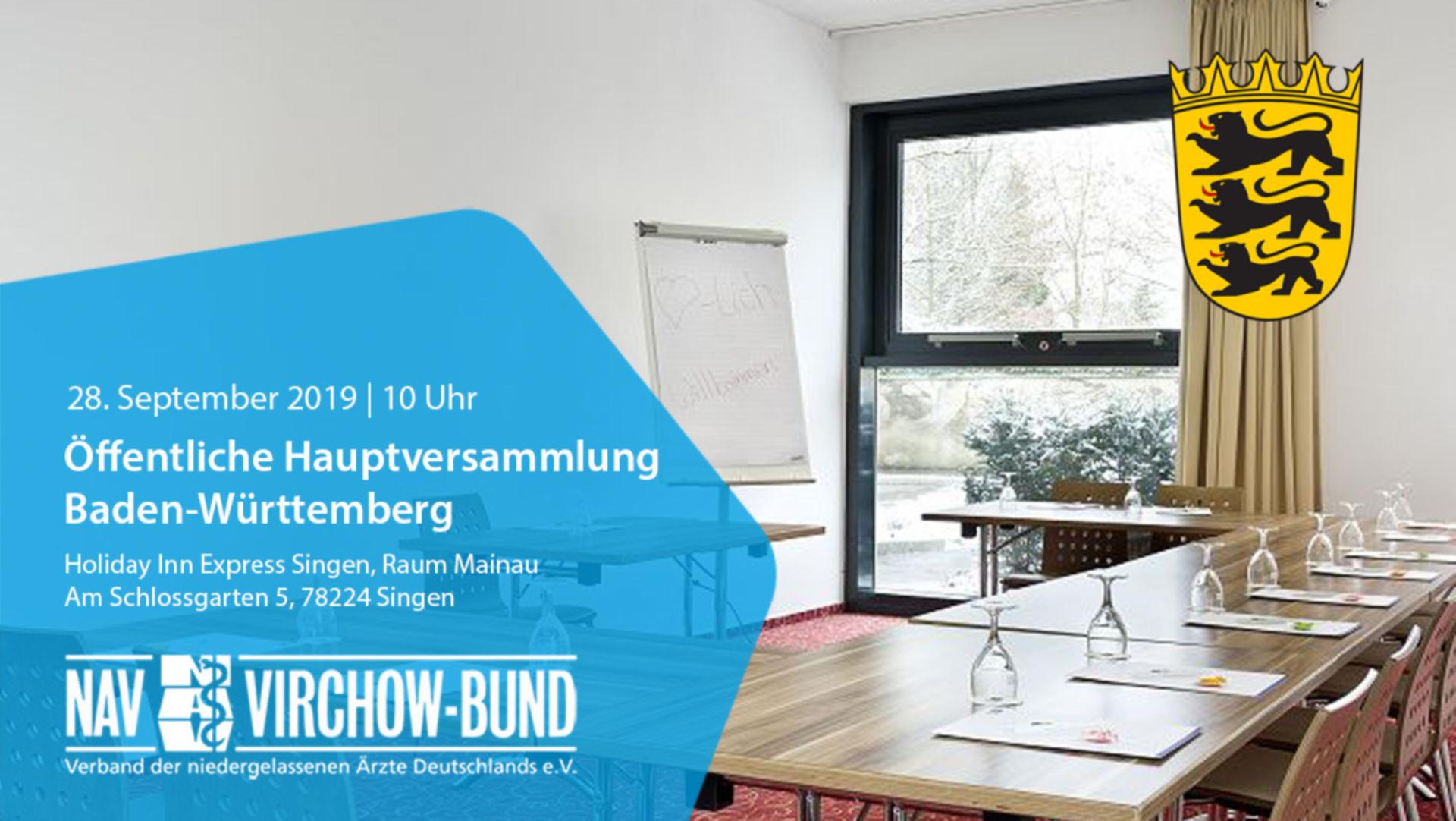 Einladung: Landeshauptversammlung Baden-Württemberg im NAV-Virchow-Bund