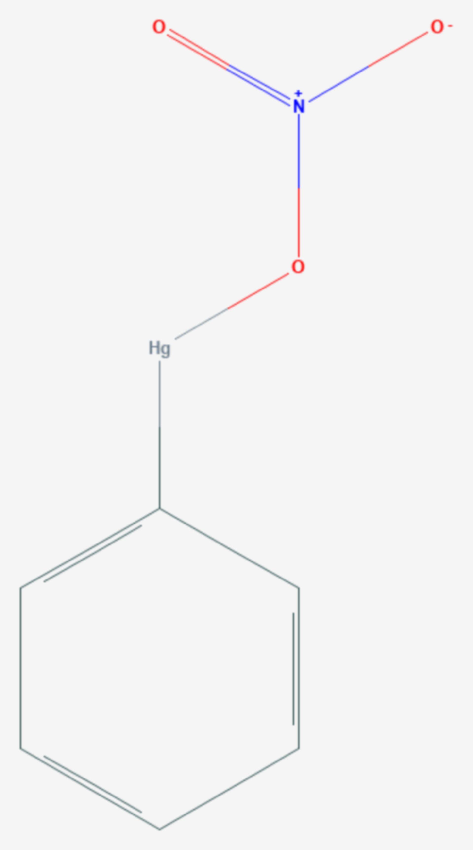 Phenylquecksilber(II)-nitrat (Strukturformel)