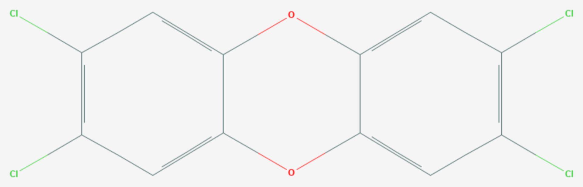 2,3,7,8-Tetrachlordibenzodioxin (Strukturformel)