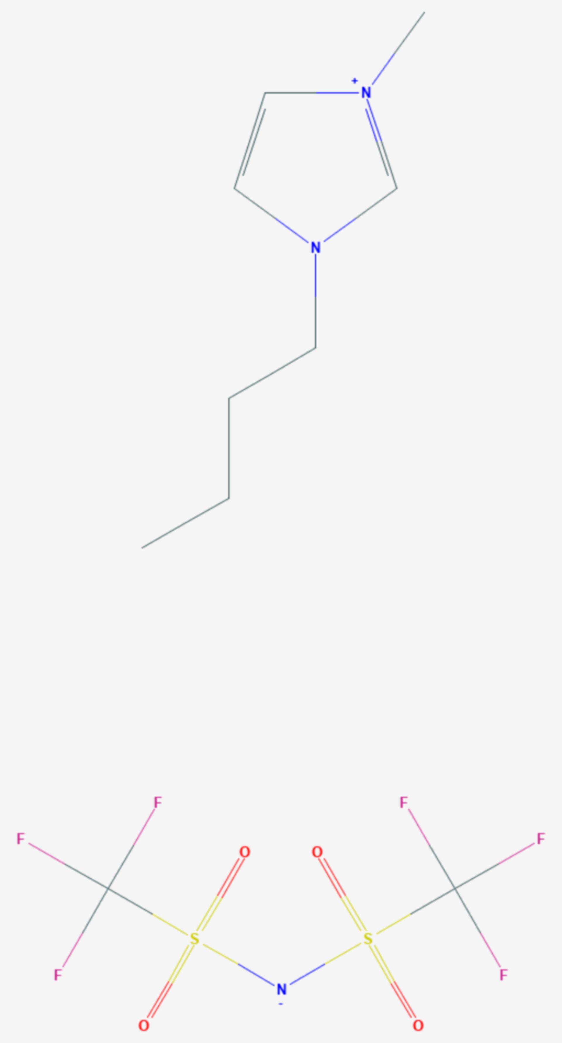 1-Butyl-3-methyl-imidazolium-bis(trifluormethylsulfonyl)-imid (Strukturformel)