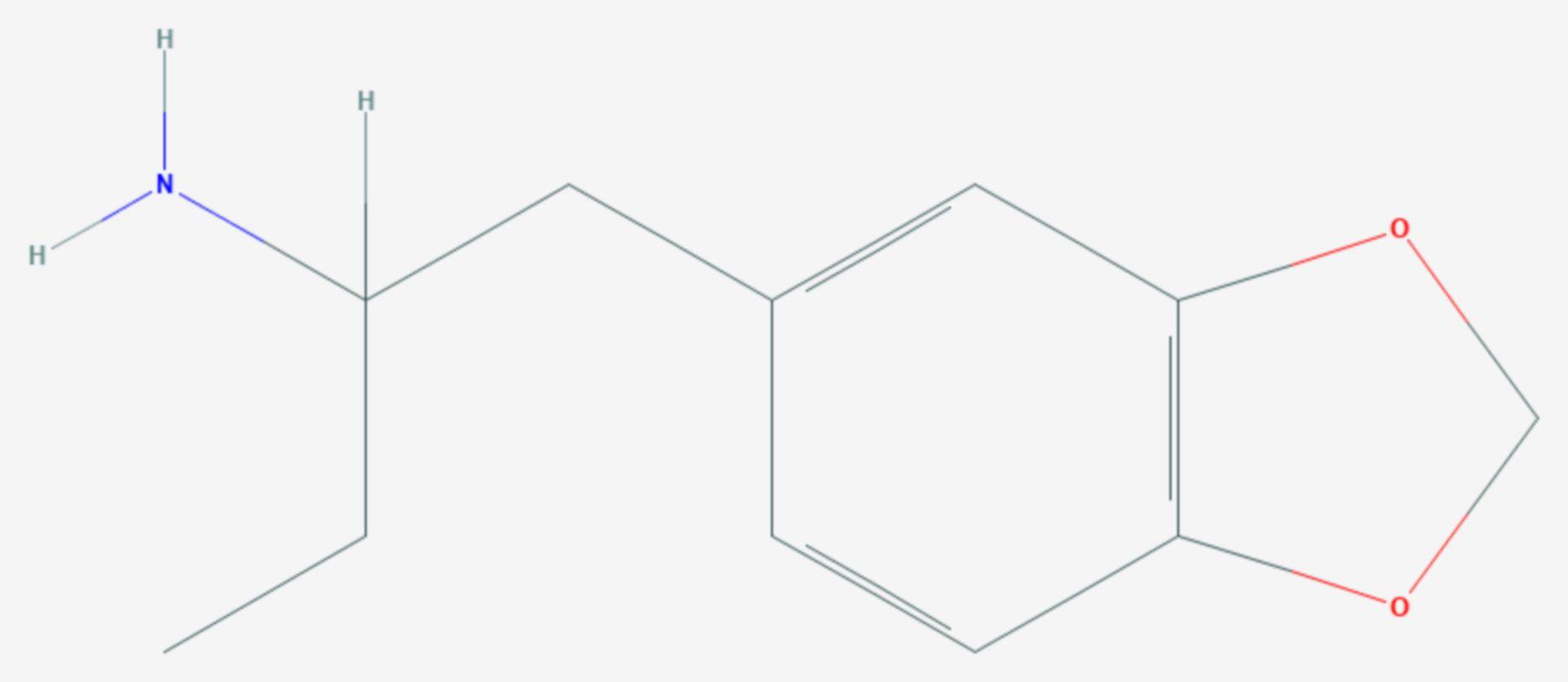 2-Amino-1-(3,4-methylendioxyphenyl)butan (Strukturformel)