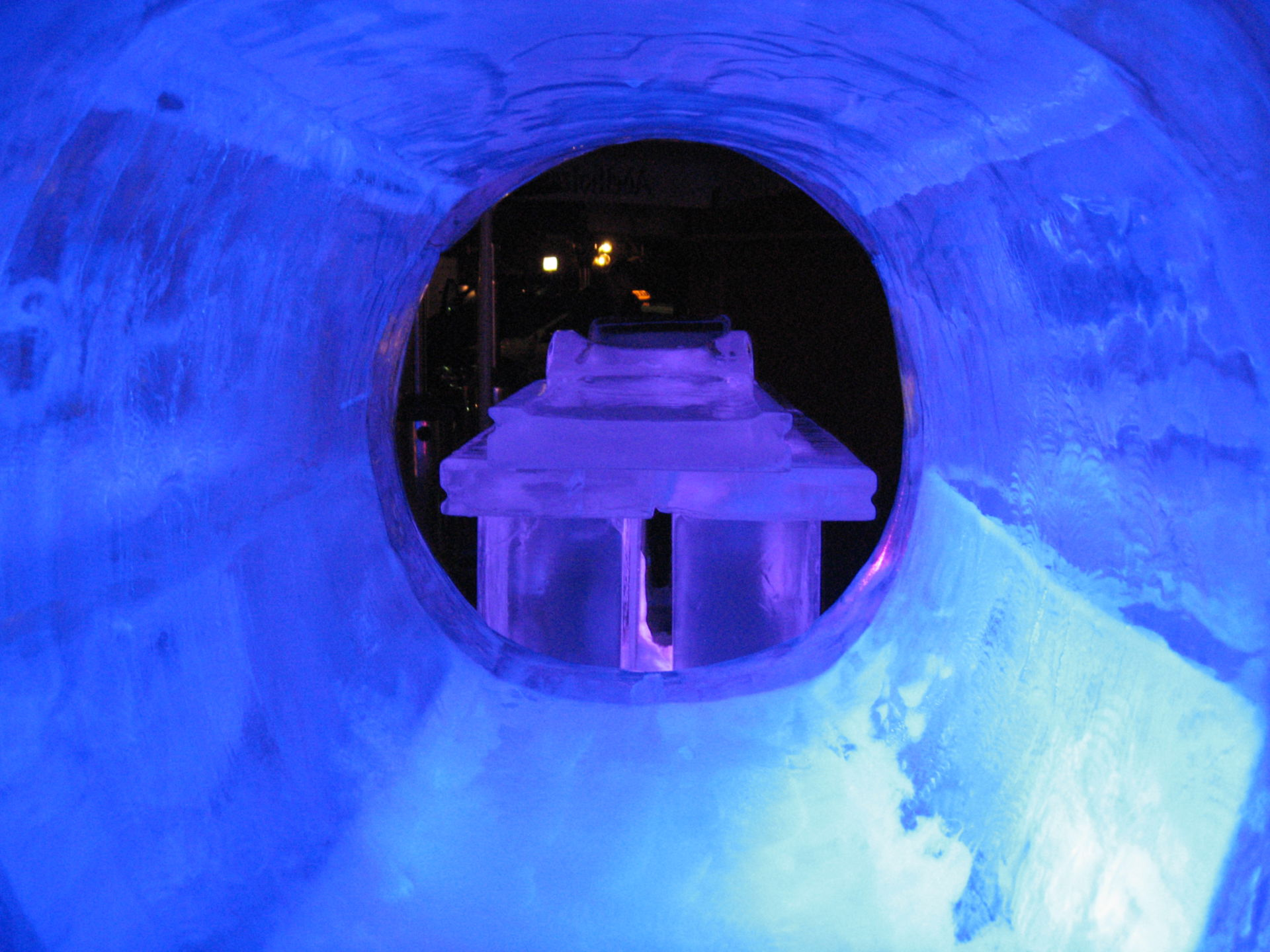 View through the gantry of ice