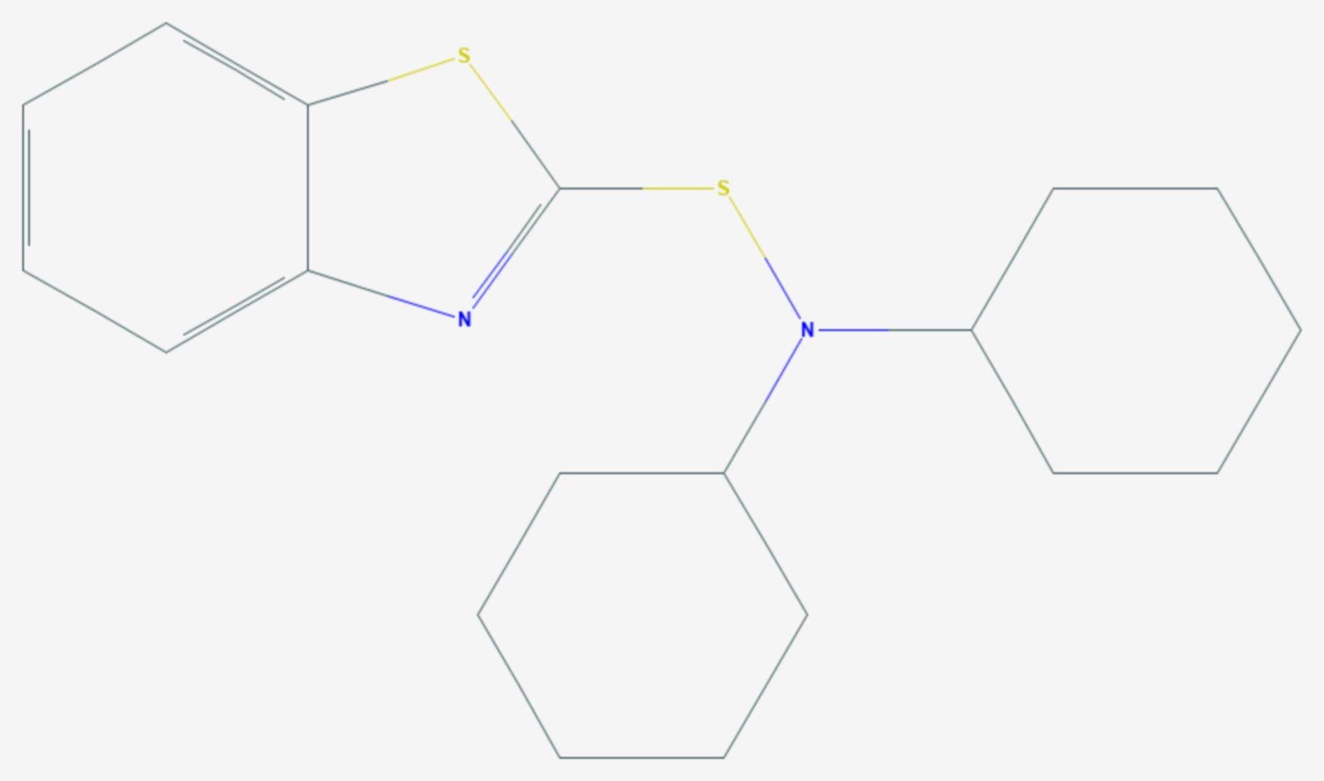 N,N-Dicyclohexylbenzothiazol-2-sulfenamid (Strukturformel)