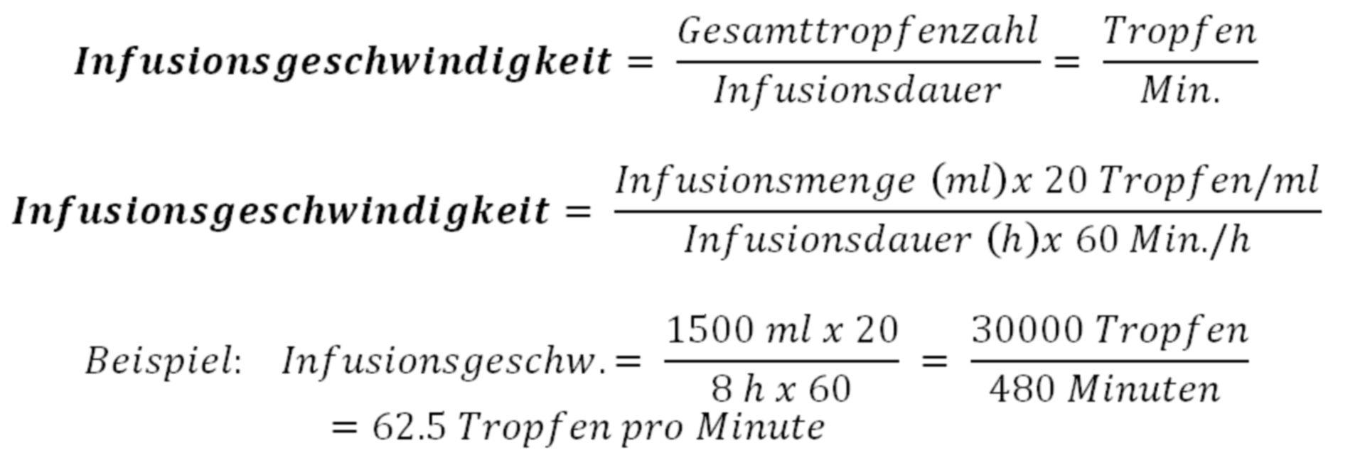 Berechnungsformel der Infusionsgeschwindigkeit