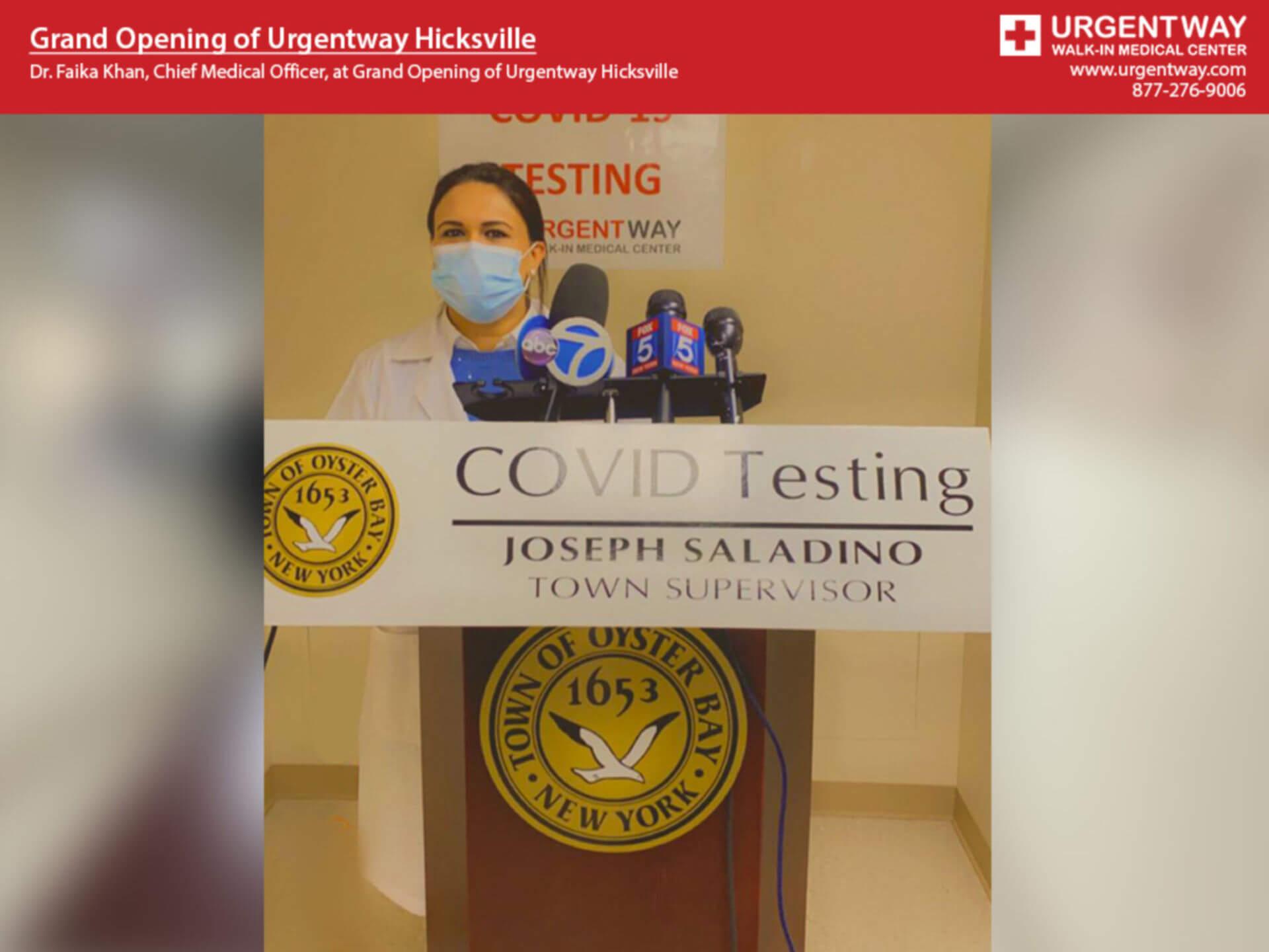 Dr Faika Khan at Urgentway Hicksville Grand Opening