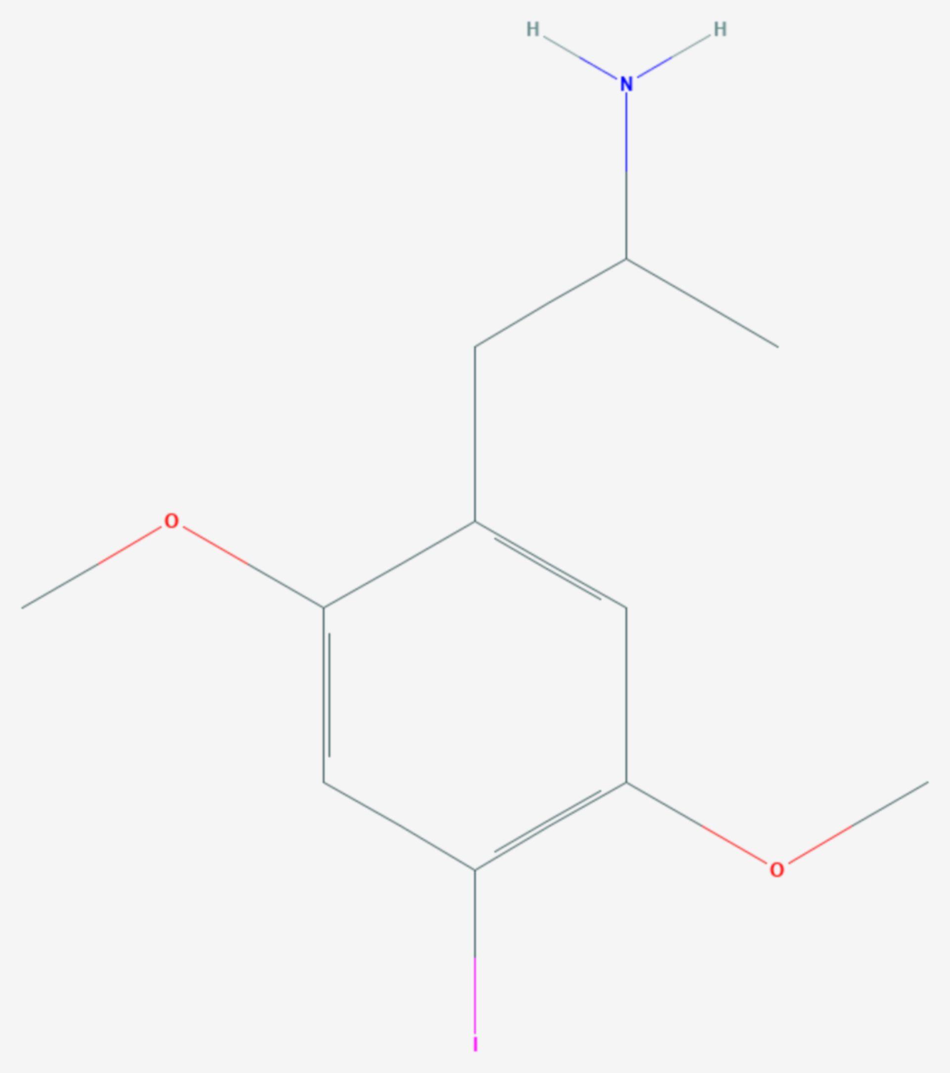 2,5-Dimethoxy-4-iodamphetamin (Strukturformel)