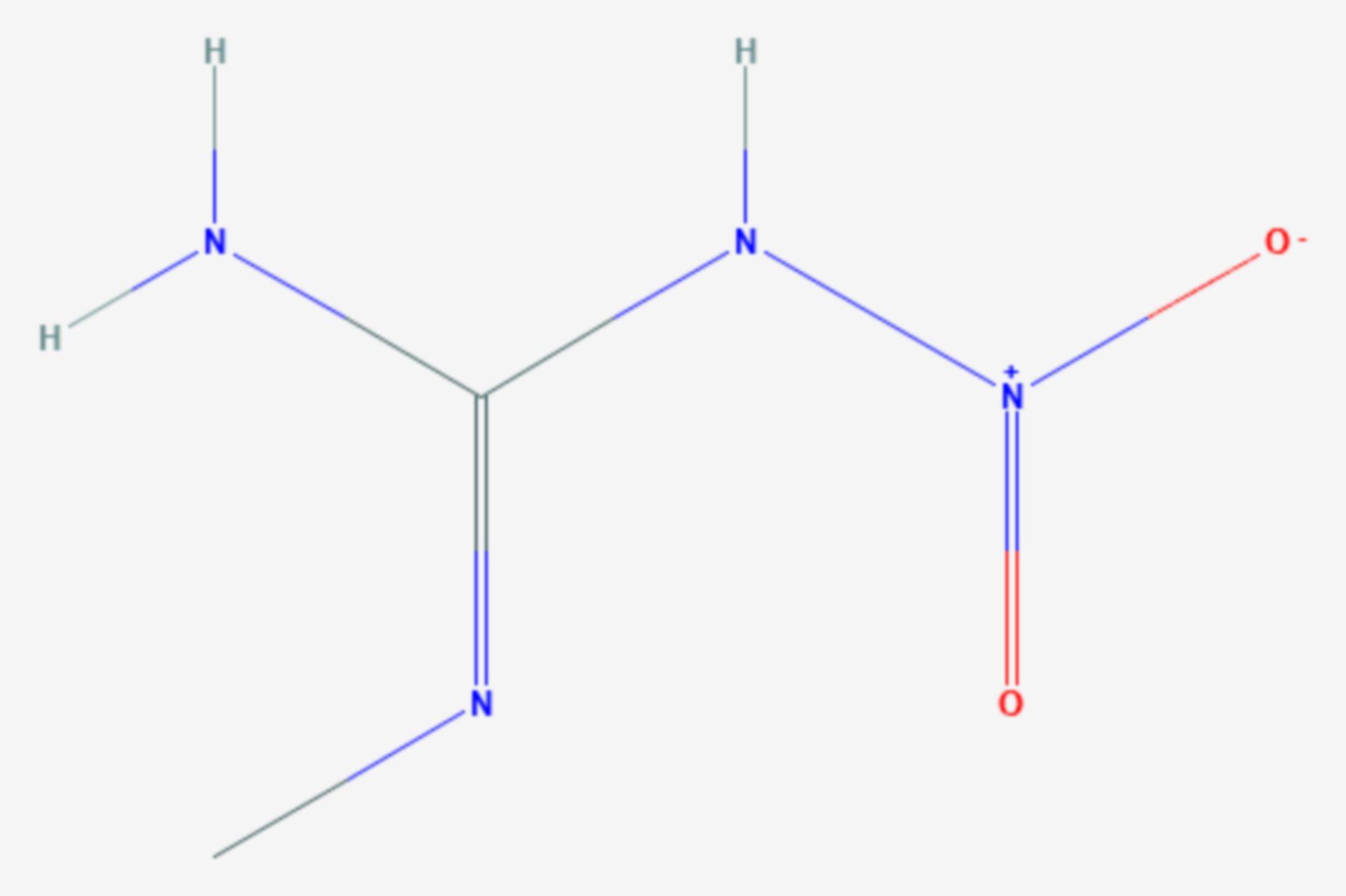 N-Methyl-N′-nitroguanidin (Strukturformel)