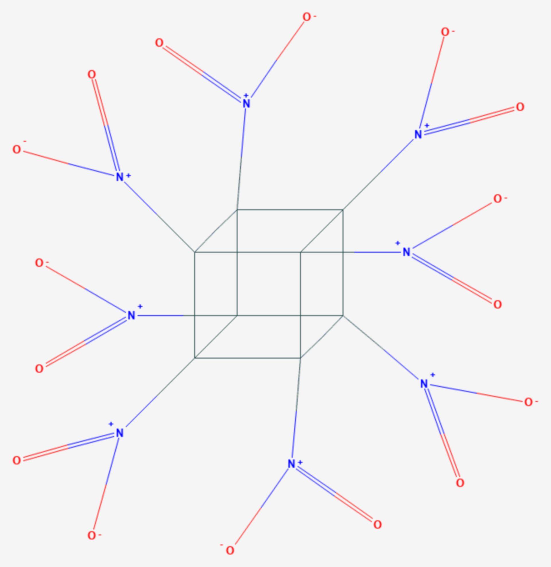 Octanitrocuban (Strukturformel)