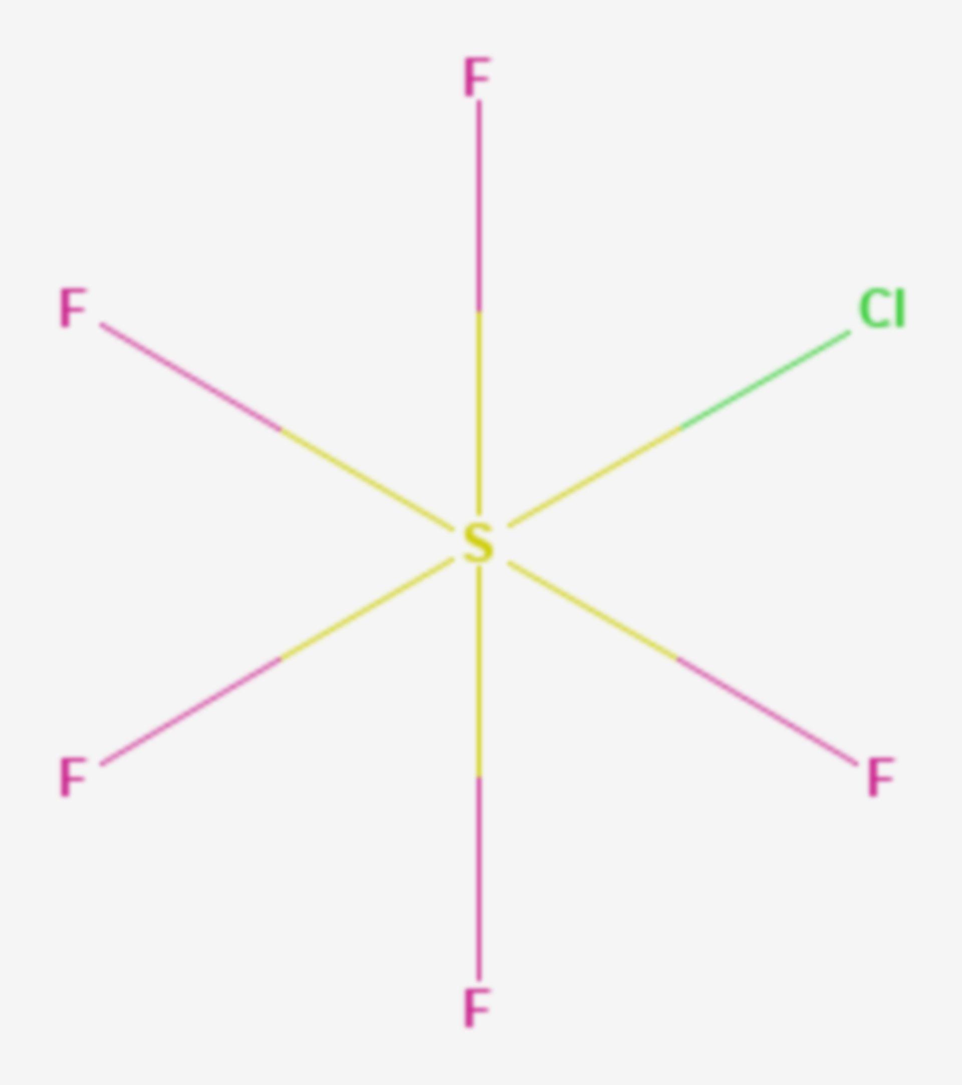 Schwefelmonochloridpentafluorid (Strukturformel)