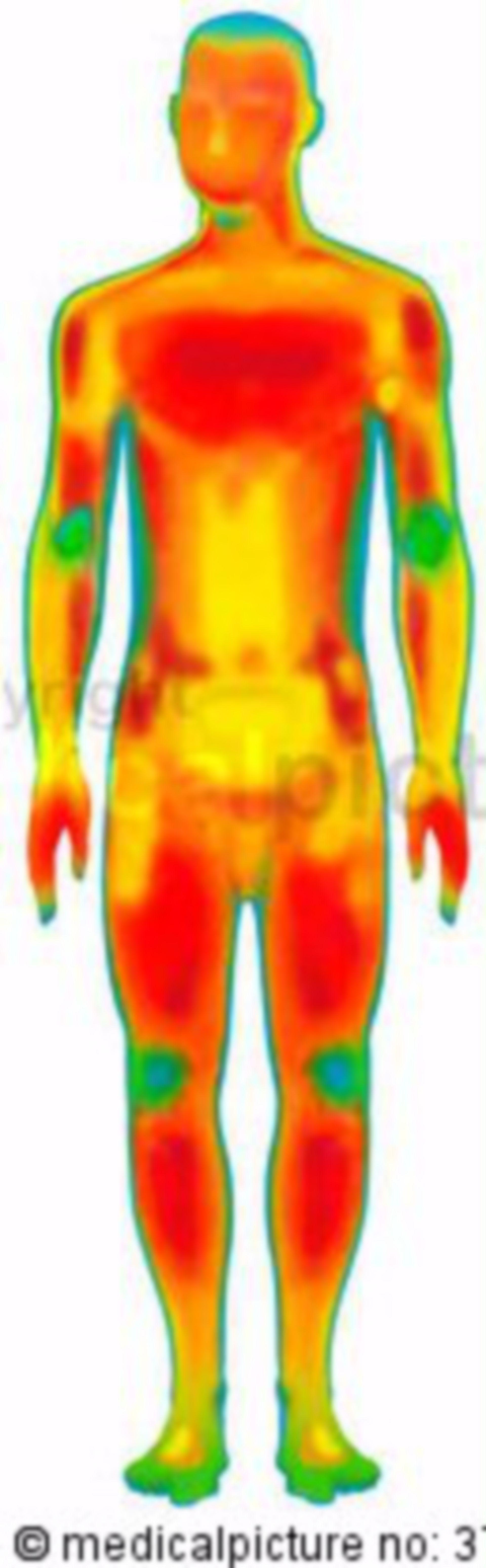 Nackter Mann mit Temperaturzonen, naked man with different temperature