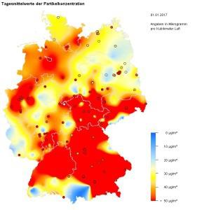 So stark war die Feinstaubbelastung am 1.1.17 in Deutschland