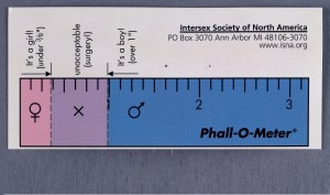 L0031936 Phall-O-meter', Intersex Society of North Credit: Wellcome Library, London. Wellcome Images images@wellcome.ac.uk http://wellcomeimages.org Intersex Society of North America www.isna.org PO Box 3070 MI 48106-3070 'Phall-O-meter' (Showing in actual scale current medical standards employed to determine nature of genital plastic surgery for children born with mixed sex anatomy) In copyright ? Published: - Copyrighted work available under Creative Commons Attribution only licence CC BY 4.0 http://creativecommons.org/licenses/by/4.0/
