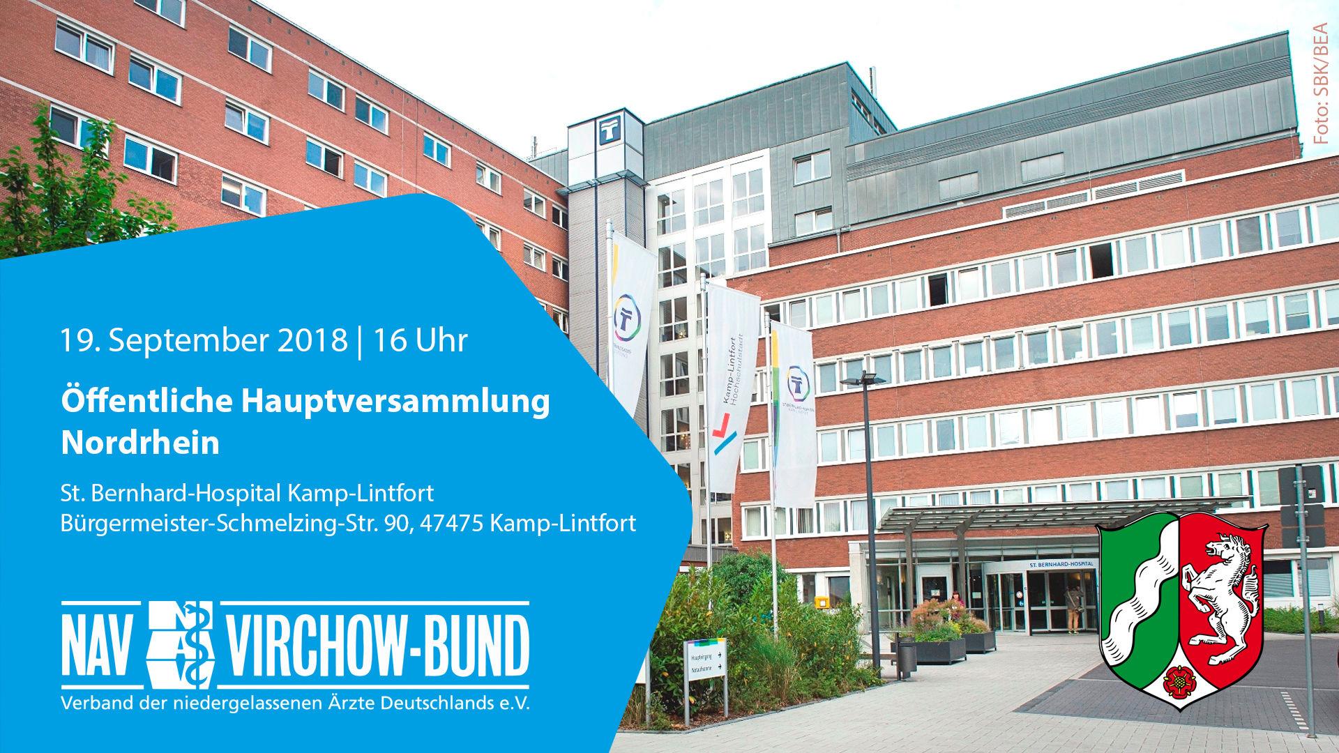 Einladung: 19.9.2018 | Landeshauptversammlung Nordrhein im NAV-Virchow-Bund