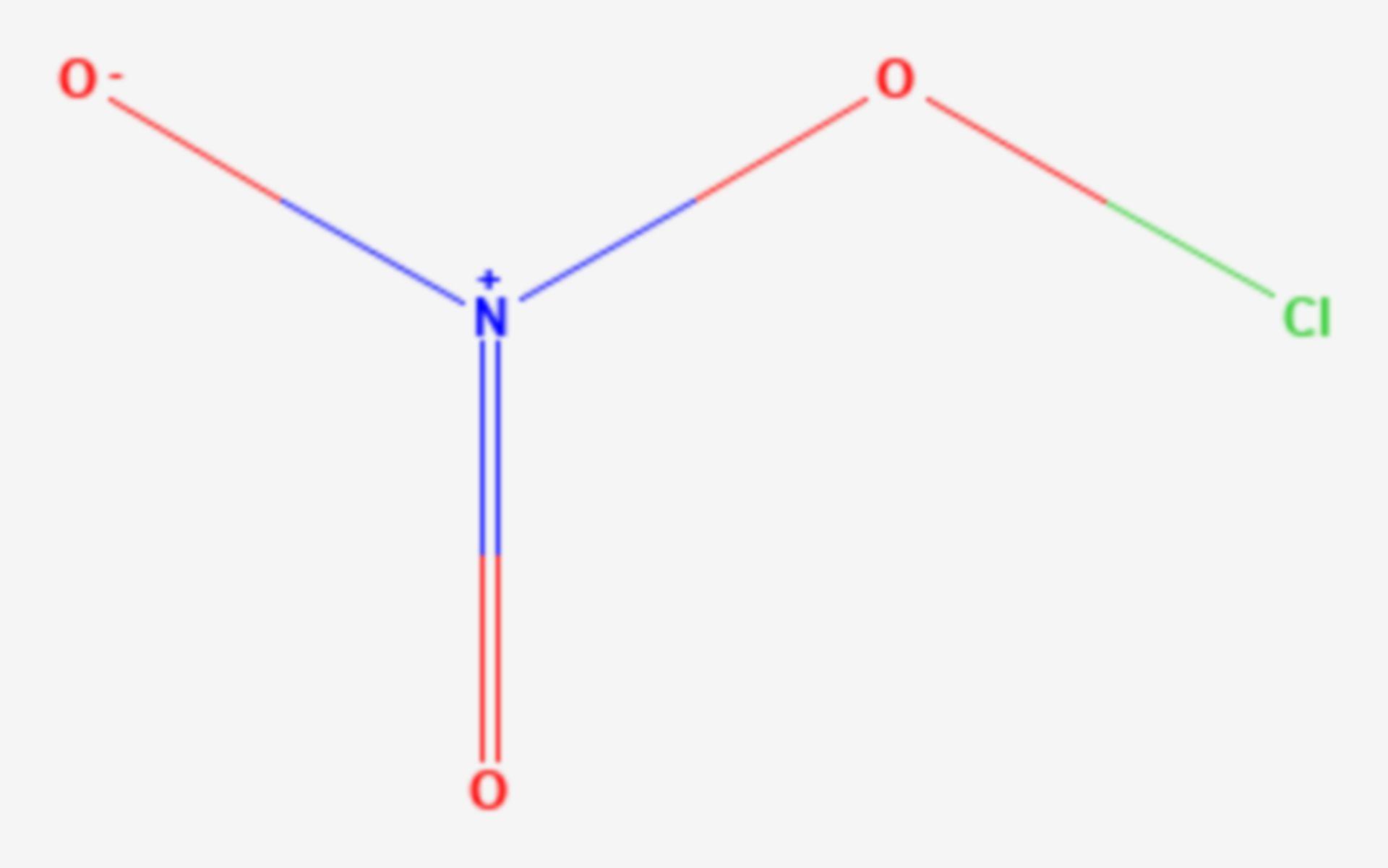 Chlor(I)-nitrat (Strukturformel)