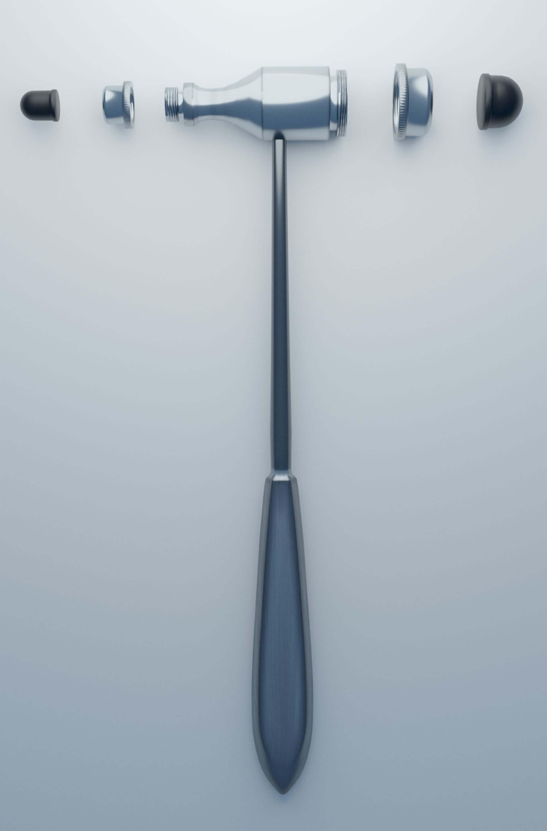 3D-Rendering: Reflexhammer nach Trömner Einzelkomponenten