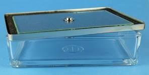 Instrumentenschale Glas mit Metalldeckel