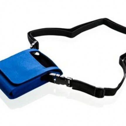 Recordertasche für Mobil-O-Graph, blau mit Klettverschluß, Schulter und Hüftgurt